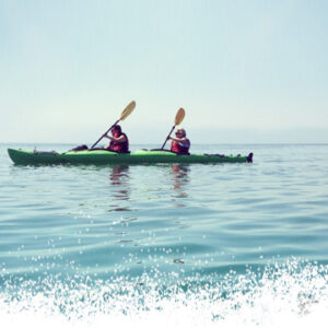 two kayakers on canoe qualifications course